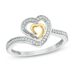 #Zales - #Zales 1/10 CT. T.w. Diamond Double Heart Ring in 10K Two-Tone Gold - AdoreWe.com