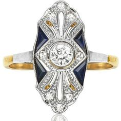 American Beauty... Original 1920s Sapphire and Diamond ring