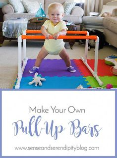Naptime Projects: Pull Up Bars - Baby girl crafts - Baby Diy Baby Sensory Play, Baby Play, Baby Lernen, Pull Up Bar, Baby Development, Baby Games, Baby Kind, Infant Activities, Infant Games