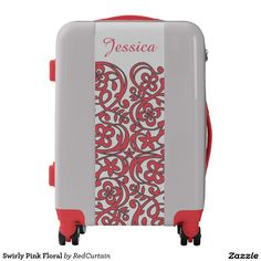 Swirly Pink Floral Pretty Personalized Luggage