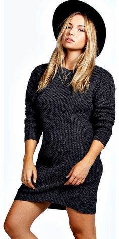 boohoo Ruby Chunky Knit Round Neck Jumper Dress - black No off-duty wardrobe is complete without a casual day dress. Basic bodycon dresses are always a winner and casual cami dresses a key piece for pairing with a polo neck , giving you that effortless eve http://www.comparestoreprices.co.uk/womens-clothes/boohoo-ruby-chunky-knit-round-neck-jumper-dress--black.asp