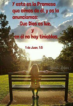 1 de Juan, 1:5 - Y esta es la Promesa que oímos de él, y os la anunciamos: Que Dios es luz, y en él no hay tinieblas.