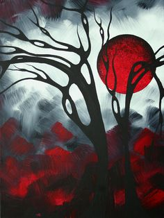 Abstract Gothic Art Original Landscape Painting Imagine - by Madart