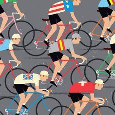 Cycling Art, World Road Race Championship Cyclists, Peloton Cycling Poster