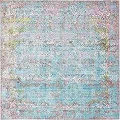 Bungalow Rose Hajeb Blue Area Rug Rug Size: Square 8'