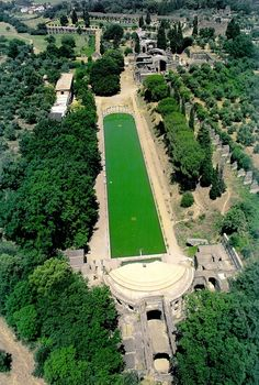 Tivoli: Canopus, Hadrian's Villa (Villa Adriana) in Tivoli, Italy. Built by Roman Emperor Hadrian (76-138 AD). The Emperor had dinners with his guests in the pavilion on the front. The pavilion offered shade from the sun and was equiped with dramatic and cooling waterfalls.