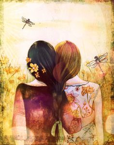 black and blond hair sister best friend art print with dragonfly by claudiatremblay on Etsy