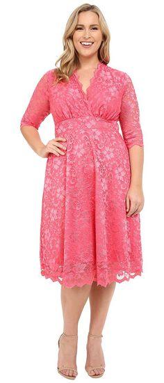Kiyonna Mademoiselle Lace Dress (Coral Blush) Women's Dress Blouse Dress, Sheer Dress, Lace Dress, Plus Size Dresses, Plus Size Outfits, Coral Blush, Wedding Dress Patterns, Scalloped Dress, Plus Size Kleidung