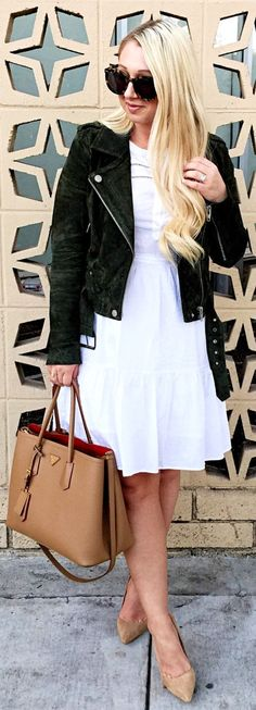 pretty spring outfits /  Black Suede Jacket / White Dress / Camel Leather Tote Bag / Nude Pumps
