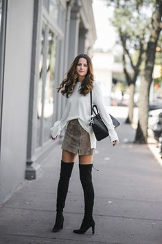 The miller Affect wearing a suede miniskirt with a white sweater and black OTK boots Simple Fall Outfits, Winter Outfits, Casual Outfits, Cute Outfits, Long Boots Outfit, Black Otk Boots Outfits, Black Boots, Night Outfits, Skirt Outfits