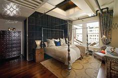 Interior design by Laura U. Soho loft master bedroom. #design #bedroom #soho