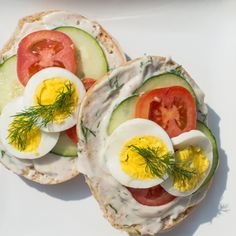 Bagel with Dill Cream Cheese, Tomato, Cucumber and Egg - GO Veggie!� #GOVeggieSpringBoard