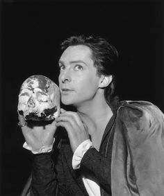 """June 19, 1961: Jeremy Brett during rehearsal for his part as Hamlet. Jeremy borrowed his stage name from the label in his first suit, which was a green tweed made by Brett and Co., Warwick, because his father forbade him to use the name """"Huggins"""" onstage. Col. Huggins changed his mind about letting Jeremy use his own name after watching him portray Hamlet to rave reviews, but it was too late: Jeremy Huggins had already won fame as Jeremy Brett."""