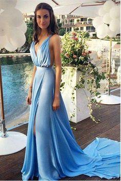 2016 Sexy Sky Blue Deep V Prom Dresses pst0209
