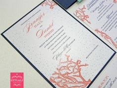 Coral Reef Beach Layered Wedding Invitations - Coral, Navy & Aqua colors - Made to order by citlalicreativo.com