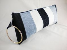 Sale- Recycled Denim wristlet clutch