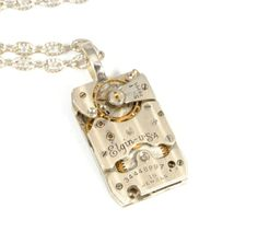Steampunk Necklace Jewelry Steam Punk Necklace Vintage Watch Necklace Rectangular Antique Elgin Steam Punk Jewelry By VictorianCuriosities. $45.00, via Etsy.