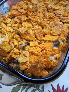 Taco Casserole    Sounds absolutely over the top fatting but oh so yummy!  Need to try!