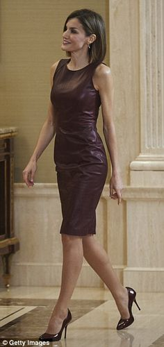 Queen Letizia in leather Hugo Boss dress that she's worn twice before | Daily Mail Online