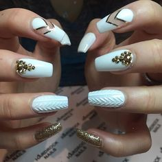 2017 best nail art designs | coffin | acrylic | gel polish | #rhinestone | Tiffany Blue | diamond | Gem | gold | golden | glitter