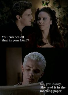 I loved how Spike wasn't impressed by Angelus at all by this point.