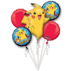 Pokemon Pikachu and Friends Birthday 5 Mylar Balloons Bouquet ~ Party Supplies