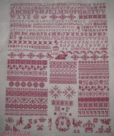 Huge red work cross stitch sampler
