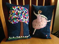 Charming upcycled cushions made from old jeans and scraps of material from @Gtilleymatthews and featured during #UpcycledHour (Tuesday 8-9pm on Twitter).