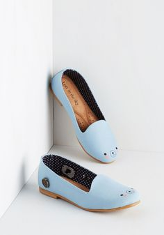 Oso Adorable Flat. These pale blue flats by Loly in the Sky are so darn cute, we can 'bear'-ly stand it! #blue #modcloth