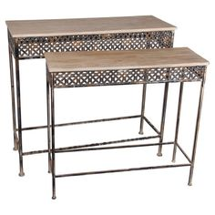 Showcasing an openwork apron and neutrally hued surface, these rustic console tables bring eye-catching style to your decor.  Produc...