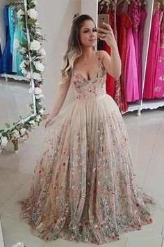 Cheap V Neck Straps Floral Prom Dresses, Sleeveless Long Formal Dresses N1497