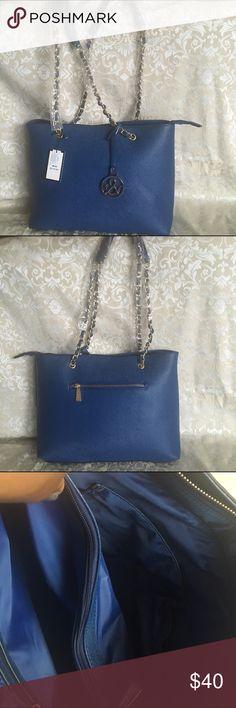 "Navy blue handbag Dimensions - 14""L x 4.5""W x 10""H 29"" Drop Shoulder strap leather with gold hardware Gold tone hardware Saffiano faux-leather Interior - 1 center zipper pocket 1 side pocket 2 slip pockets Closure - Zipper Bags Satchels"