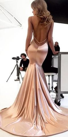 464730b9d6 Simple Spaghetti Straps V-Neck Mermaid Sexy Backless Prom Dresses