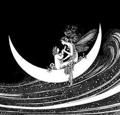 The Enchanted Forest, Ida Rentoul Outhwaite sailing on a sea of stars Arte Viking, Arte Elemental, Sea Of Stars, Fairytale Art, Expo, Moon Art, Fairy Art, Children's Book Illustration, Illustrations