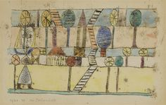 Artwork by Paul Klee, DIE DORFVERRÜCKTE (THE VILLAGE MADWOMAN), Made of Watercolor over oil transfer on paper