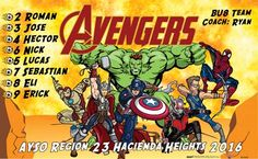 Avengers B51843  digitally printed vinyl soccer sports team banner. Made in the USA and shipped fast by BannersUSA.  You can easily create a similar banner using our Live Designer where you can manipulate ALL of the elements of ANY template.  You can change colors, add/change/remove text and graphics and resize the elements of your design, making it completely your own creation.
