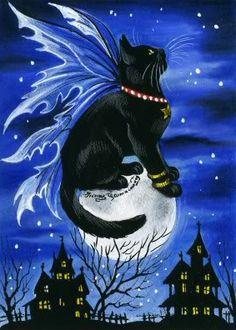 Cat Art...=^.^=...❤...Halloween Spirit...By Artist Irina Garmashova...