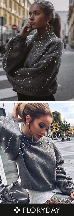 Round Neckline Solid Loose Regular Beading Sweaters - All About Look Fashion, Trendy Fashion, Winter Fashion, Vintage Fashion, Fashion Outfits, Womens Fashion, Fashion Trends, Knit Fashion, Fashion Clothes