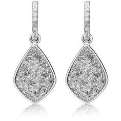 H a London Elar's Star Silver Druzy Drop Earrings ($219) ❤ liked on Polyvore featuring jewelry, earrings, accessories, silver jewelry, silver drop earrings, silver tone earrings, silver jewellery and handcrafted earrings