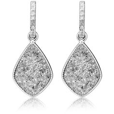 H a London Elar's Star Silver Druzy Drop Earrings ($219) ❤ liked on Polyvore featuring jewelry, earrings, accessories, silver jewelry, silver drop earrings, silver tone earrings, silver jewellery and handcrafted earrings