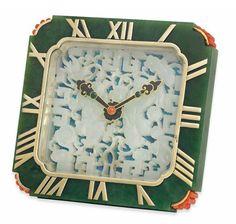 AN ART DECO NEPHRITE JADE AND GEM EIGHT DAY CLOCK, BY CARTIER