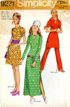Vintage Sewing Pattern - 1971 Juniors Dress in Two Lengths and Pants, Simplicity 9271 Size 9 Bust 33. $6.50, via Etsy.
