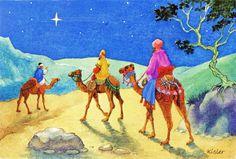 Les Rois mages sur chameaux suivent l'Étoile de Noël (from http://mercipourlacarte.com/picture?/1257/)