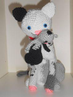 Minou chat et son chaton 22 cm tuto patron au crochet amigurumi  explications modèle tutoriel de04e0c7416