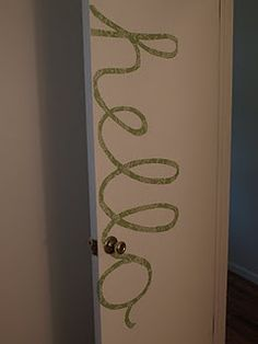 DIY fun idea using contact paper — this could be fun to do using your name for the door to your room -- or sorority letters, or school mascot. Maybe painter's tape or Washi tape could work, too -- as long as it's a non-damaging type of tape for the dorm or apt. move-out requirements.