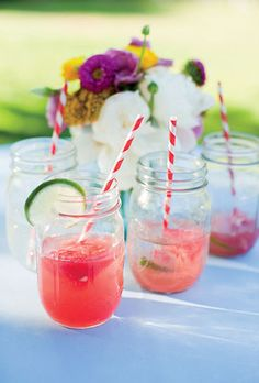 pink cocktails in mason jars for wedding reception