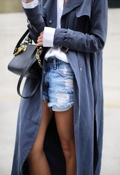 Navy trench + blouse + cut-offs