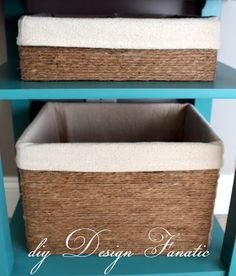 baskets from cardboard boxes: cute idea: looks like they just used twine to wrap around & placed in a material lining. You could make any type of containers match like this!!! :)