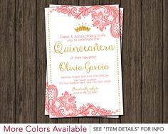 quinceañera invitation coral peach watercolor gold glitter crown