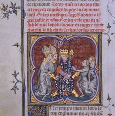 A fourteenth-century depiction of the three sons of Louis the German — Carloman, Louis the Younger, and Charles — swearing an oath to him. Louis the German is here depicted as a French king, wearing the fleur-de-lis.